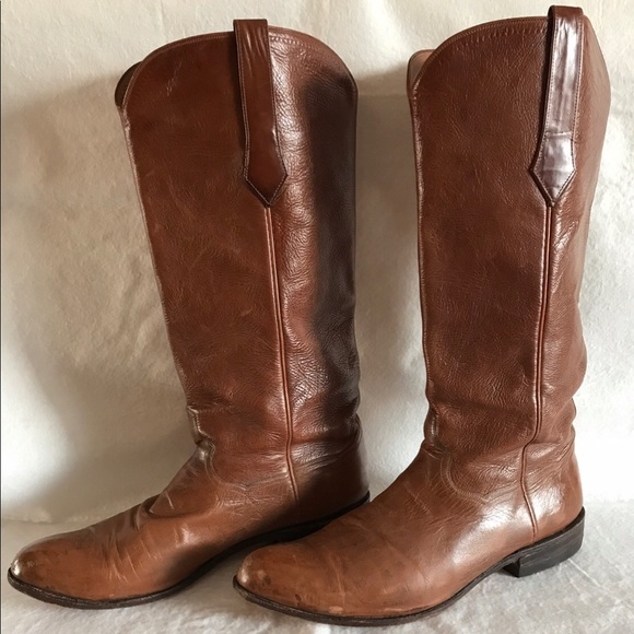 0aa5e02780d JB Hill Texas Brown Leather Mens Cowboy Boots 11.5